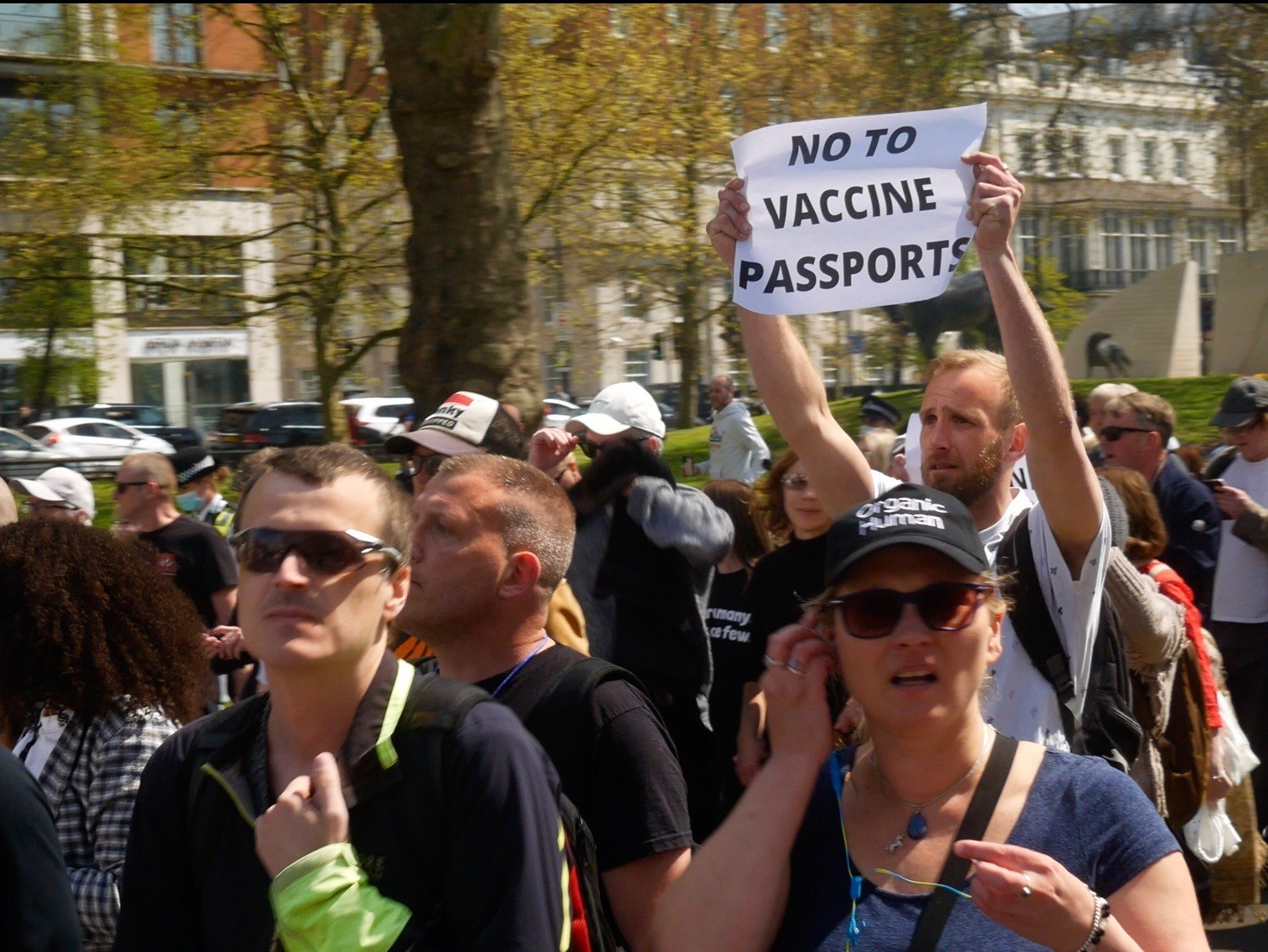 Thousands of anti-lockdown demonstrators took to the streets of London to protest against coronavirus vaccine passports. April 24, 2021. Kurt Zindulka, Breitbart News
