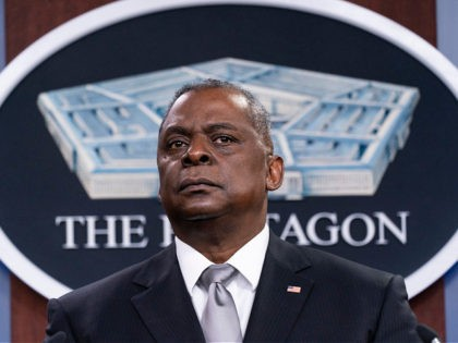 FILE - Secretary of Defense Lloyd Austin listens to a question as he speaks during a media briefing at the Pentagon in Washington, in this Friday, Feb. 19, 2021, file photo. U.S. Defense Secretary Lloyd Austin met Sunday, April 11, 2021, in Tel Aviv with his Israeli counterpart and reinforced …