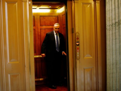 WASHINGTON - OCTOBER 1: U.S. Sen. Charles Schumer (D-NY) enters an elevator on the Senate side of the Capitol building October 1, 2008 in Washington, DC. The U.S. Senate will vote Wednesday evening on a revised version of the financial rescue plan that failed to pass in the House of …