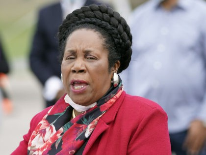 Rep. Sheila Jackson Lee, D-Texas, speaks during a news conference at a newly opened free drive through Covid-19 testing site provided by United Memorial Medical Center Thursday, April 2, 2020, in Houston. (AP Photo/David J. Phillip)