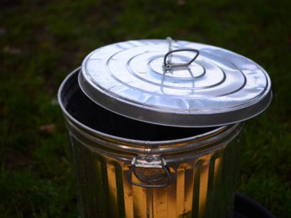 Dustbin with reflective sunlight
