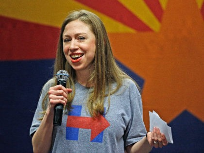 FILE - In this Oct. 19, 2016, file photo, Chelsea Clinton laughs as she talks to a crowd at Arizona State University about her years in the White House as a kid while campaigning for her mother, Democratic presidential candidate Hillary Clinton, in Tempe, Ariz. The AP reported on June …