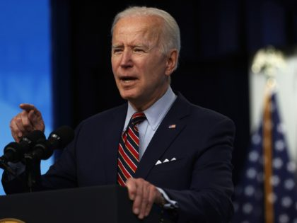 WASHINGTON, DC - APRIL 21: U.S. President Joe Biden delivers remarks on the COVID-19 response and the state of vaccinations at the South Court Auditorium of Eisenhower Executive Office Building on April 21, 2021 in Washington, DC. As of today, President Biden said the United States has distributed 200 million …