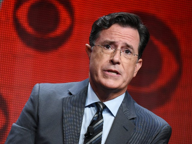 "Stephen Colbert participates in ""The Late Show with Stephen Colbert"" segment of the CBS Summer TCA Tour at the Beverly Hilton Hotel on Monday, Aug. 10, 2015, in Beverly Hills, Calif. (Photo by Richard Shotwell/Invision/AP)"