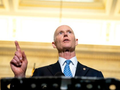 WASHINGTON, DC - APRIL 13: Senator Rick Scott (R-FL) speaks to reporters following Senate Republican Policy luncheons at the Russell Senate Office Building on Capitol Hill on April 13, 2021 in Washington, DC. Senate Republicans criticized U.S. President Joe Bidens plan to remove all troops from Afghanistan by September 11, …