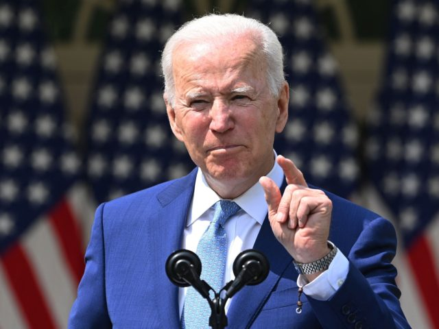 "US President Joe Biden speaks about gun violence prevention in the Rose Garden of the White House in Washington, DC, on April 8, 2021. - Biden on Thursday called US gun violence an ""epidemic"" at a White House ceremony to unveil new attempts to get the problem under control. (Photo …"