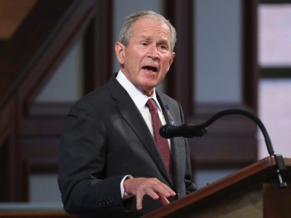 ATLANTA, GA - JULY 30: Former U.S. President George W. Bush speaks during the funeral service of the late Rep. John Lewis (D-GA) at Ebenezer Baptist Church on July 30, 2020 in Atlanta, Georgia. Former U.S. President Barack Obama gave the eulogy for the late Democratic congressman and former presidents …