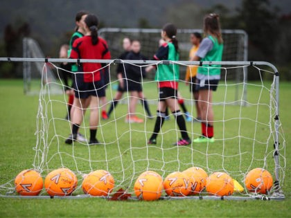 AUCKLAND, NEW ZEALAND - JUNE 18: Training the the rain for the Warkworth Football Club's 13th grade girls Phoenix team at Shoesmith Domain, Warkworth on June 18, 2020 in Auckland, New Zealand. Community sport has resumed across New Zealand following the lifting of COVID-19 restrictions. New Zealand moved to COVID-19 …