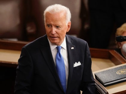 WASHINGTON, DC - APRIL 28: U.S. President Joe Biden turns from the podium after speaking to a joint session of Congress in the House chamber at the Capitol April 28, 2021 in Washington, DC. On the eve of his 100th day in office, Biden spoke about his plan to revive …