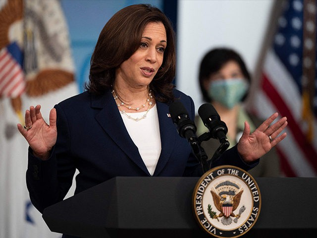 Vice President Kamala Harris speaks about the American Recovery Plan at the White House in Washington, DC, on April 15, 2021. (Photo by JIM WATSON / AFP) (Photo by JIM WATSON/AFP via Getty Images)