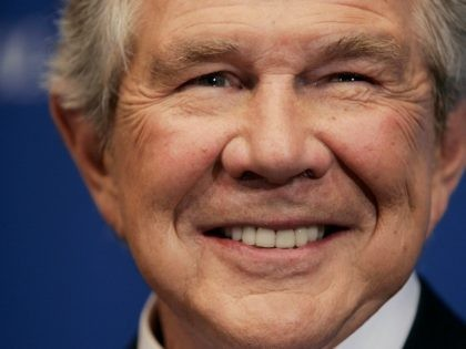 WASHINGTON - FEBRUARY 15: Pat Robertson, founder and chairman of the Christian Broadcasting Network, smiles as he is introduced before speaking at the National Press Club February 15, 2005 in Washington, DC. (Photo by Win McNamee/Getty Images)