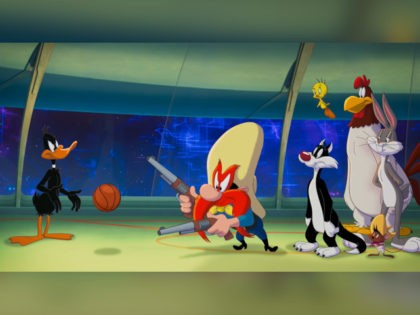 "The Looney Tunes character Yosemite Sam points his pistols at a basketball in the trailer for ""Space Jam: A New Legacy."""