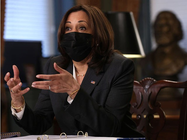WASHINGTON, DC - APRIL 22: U.S. Vice President Kamala Harris speaks during a roundtable at the Ceremonial Office of the Vice President at Eisenhower Executive Office Building April 22, 2021 in Washington, DC. Vice President Harris held the meeting to discuss with foundation leaders on the immigration crisis at the …