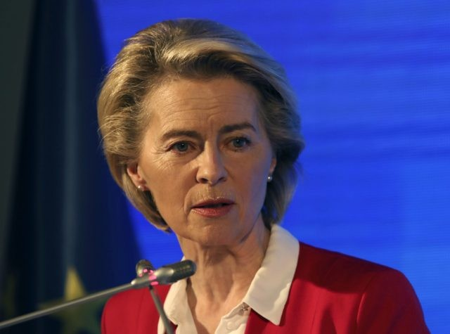 European Commission President Ursula von der Leyen speaks during a joint news conference with EU Council President Charles Michel after talks with Turkey's President Recep Tayyip Erdogan, in Ankara, Turkey, Tuesday, April 6, 2021. Top European Union officials met with Erdogan in Ankara on Tuesday, weeks after EU leaders agreed …