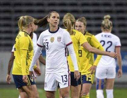 USA's Alex Morgan looks on, after the women's international friendly soccer match between Sweden and USA at Friends Arena in Stockholm, Sweden, Saturday, April 10, 2021. (Janerik Henriksson/TT via AP)