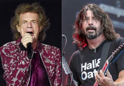 "Musician Mick Jagger of The Rolling Stones performs in East Rutherford, N.J. on Aug. 1, 2019, left, Dave Grohl of the Foo Fighters performs at Pilgrimage Music and Cultural Festival in Franklin, Tenn. on Sept. 22, 2019. Jagger and Grohl have teamed up for a hard-rock pandemic anthem called ""Eazy …"