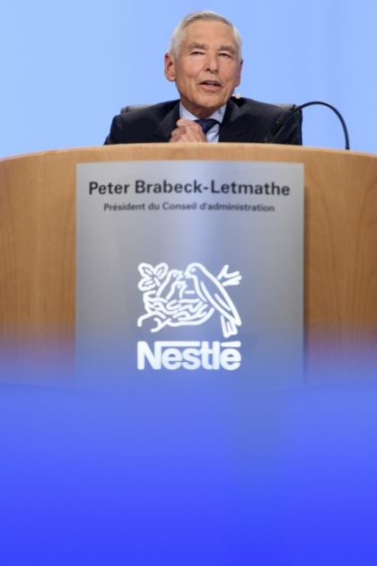 In this April 6, 2017 taken photo former Nestle's Chairman Peter Brabeck-Letmathe speaks during the general meeting of the world's biggest food and beverage company, Nestle Group, in Lausanne, Switzerland. Peter Brabeck, a former chairman and CEO of Nestle who was tapped by the Swiss government to lead GESDA, used …