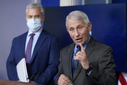 Dr. Anthony Fauci, director of the National Institute of Allergy and Infectious Diseases, speaks alongside White House COVID-19 Response Coordinator Jeff Zients during a press briefing at the White House, Tuesday, April 13, 2021, in Washington. (AP Photo/Patrick Semansky)