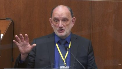 In this image from video, Dr. David Fowler, a retired forensic pathologist and former chief medical examiner for the state of Maryland testifies as Hennepin County Judge Peter Cahill presides, Wednesday, April 14, 2021, in the trial of former Minneapolis police Officer Derek Chauvin at the Hennepin County Courthouse in …