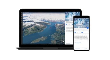 This image provided by Google shows a still image of the Columbia Glacier in Alaska as part of a new time-lapse video feature coming out as part of the biggest update to the Google Earth app in five years. The app is adding a new video feature that draws upon …