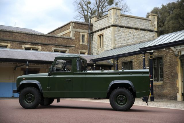 The Jaguar Land Rover that will be used to transport the coffin of the Duke of Edinburgh at his funeral on Saturday, is pictured at Windsor Castle, in Berkshire, England, Wednesday, April 14, 2021. The modified Land Rover Defender TD5 130 chassis cab vehicle was made at Land Rover's factory …