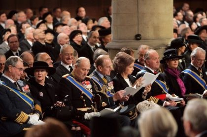 In this Saturday, Dec. 11, 2004, file photo, from left: Danish Prince Henrik, Queen Sonja and King Harald from Norway, Britain's Prince Philip, Queen Sofia, and King Juan Carlos from Spain and Queen Silvia and King Carl XVI Gustaf from Sweden during the funeral service of Dutch Prince Bernhard in …