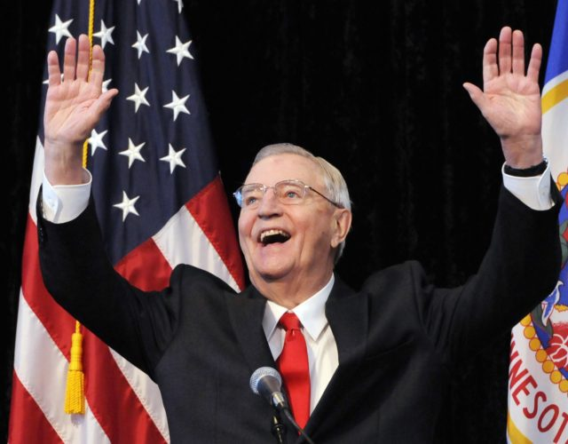 In an Oct. 30, 2012, file photo, former Vice President Walter Mondale, a former Minnesota senator, gestures while speaking at a Students for Obama rally at the University of Minnesota's McNamara Alumni Center in Minneapolis. Mondale, a liberal icon who lost the most lopsided presidential election after bluntly telling voters …