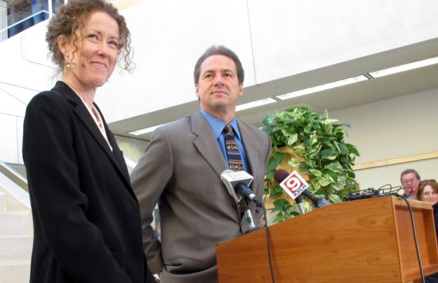 In this Dec. 14, 2012, file photo, Tracy Stone-Manning, left, is named by Gov.-elect Steve Bullock to run the Montana Department of Environmental Quality, in Helena, Mont. Stone-Manning has been nominated by President Joe Biden to lead an agency that oversees about a quarter-billion acres of public lands in western …