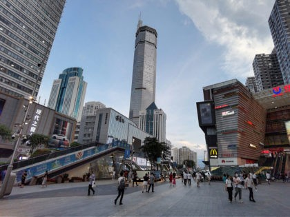 The 300-metre high SEG Plaza (C) is seen after it began to shake, in Shenzhen in China's southern Guangdong province on May 18, 2021. - - China OUT (Photo by STR / AFP) / China OUT (Photo by STR/AFP via Getty Images)