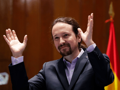 In this Jan. 13, 2020 file photo, Podemos leader Pablo Iglesias gestures after receiving his ministerial briefcase in Madrid, Spain. The leader of the junior party in Spain's coalition government said on Monday March 15, 2021 he is leaving the Cabinet to run for regional office. Pablo Iglesias took the …