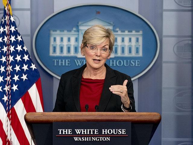 Energy Secretary Jennifer Granholm speaks at a press briefing at the White House, Thursday, April 8, 2021, in Washington. (AP Photo/Andrew Harnik)