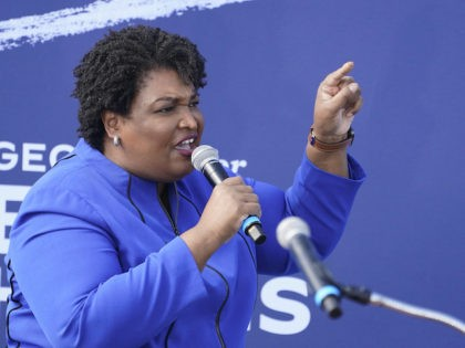 Former candidate for Georgia Governor Stacey Abrams speaks during a rally for Democratic vice presidential candidate Sen. Kamala Harris, D-Calif., Sunday, Nov. 1, 2020, in Duluth, Ga. (AP Photo/John Bazemore)