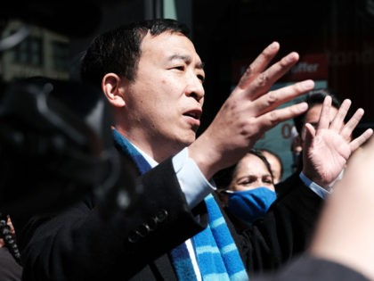 NEW YORK, NEW YORK - APRIL 05: New York Mayoral Candidate Andrew Yang speaks to members of the media along Canal Street in Chinatown on April 05, 2021 in New York City. Yang, an Asian American, has been working to draw attention to recent assaults against Asians both in New …