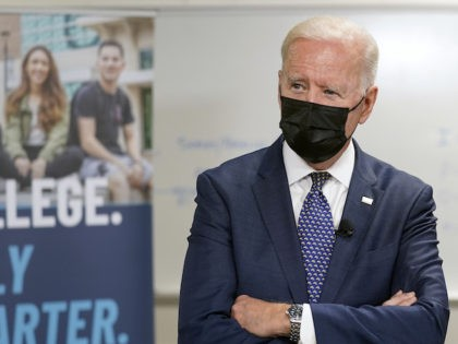President Joe Biden tours an HVAC workshop at Tidewater Community College, Monday, May 3, 2021, in Portsmouth, Va. (AP Photo/Evan Vucci)