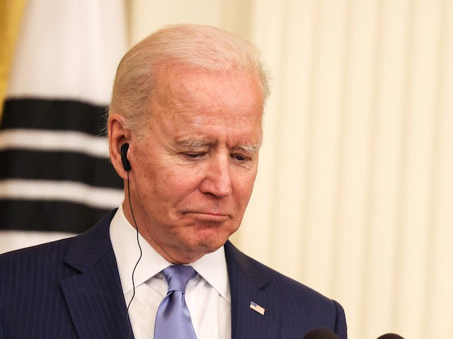 U.S. President Joe Biden speaks during a joint press conference with South Korean President Moon Jae-in in the East Room of the White House on May 21, 2021 in Washington, DC. Moon Jae-in is the second world leader to be hosted by President Biden at the White House. (Photo by …