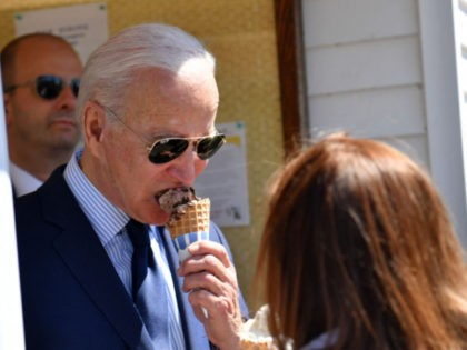 US President Joe Biden eats an ice cream at Honey Hut Ice Cream in Cleveland, Ohio, on May 27, 2021. (Photo by Nicholas Kamm / AFP) (Photo by NICHOLAS KAMM/AFP via Getty Images)