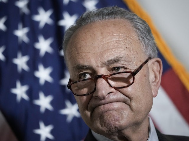 Senate Majority Leader Chuck Schumer (D-NY) speaks during a news conference following a policy luncheon meeting with fellow Senate Democrats on Capitol Hill May 18, 2021 in Washington, DC. Schumer and the Democratic Senators took questions form reporters about the Endless Frontier Act, which aims to counter Chinas global economic …