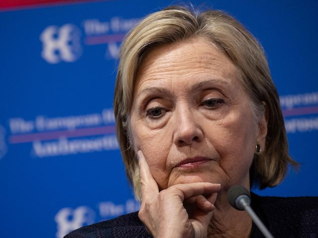 """Former US Secretary of State Hillary Clinton attends the 45th edition of the annual """"The European House Ambrosetti"""" forum on economy on September 7, 2019 at Villa D'Este in Cernobbio, near Como, northern Italy. - The annual event, which runs this year through September 6-8 and dubbed """"Intelligence on the World, Europe and Italy"""", gathers heads of state and government, top representatives of European institutions, ministers, Nobel prize winners, businessmen, managers and experts from around the world to discuss current issues of impact for the world economy and society. (Photo by Marco BERTORELLO / AFP) (Photo credit should read MARCO BERTORELLO/AFP via Getty Images)"""