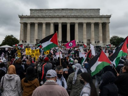 Supporters of Palestine wave flags as they hold a rally at the Lincoln Memorial in Washington, DC on May 29, 2021. - More than 1,000 rallied Saturday in Washington in support of Palestinians and calling for an end to US aid to Israel. The demonstration on the steps of the …