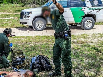Kingsville Station Border Patrol agents rescue a migrant suffering from heatstroke in May 2021. (Photo: U.S. Border Patrol/Rio Grande Valley Sector)