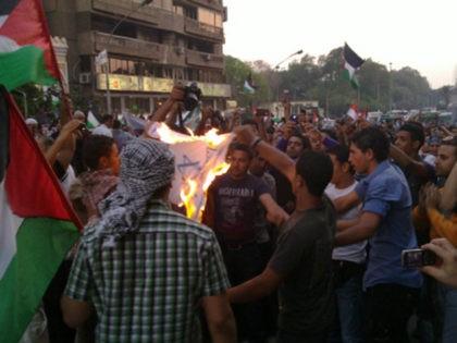 Burning Israeli flg. For the umpteenth time. #IsraelEmbassy #Nak