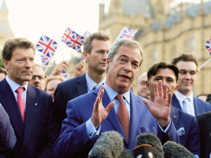 LONDON, ENGLAND - JUNE 24: Nigel Farage, leader of UKIP and Vote Leave campaigner, arrives to speak to the assembled media at College Green, Westminster following the results of the United Kingdom's EU referendum on June 24, 2016 in London, United Kingdom. The result from the historic EU referendum has …
