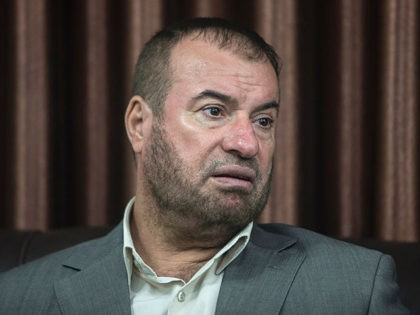 "Hamas politburo member Fathi Hammad speaks during a press conference at his home in Beit Lahia in the northern Gaza Strip, on September 17, 2016. A senior Hamas official designated by Washington as a ""global terrorist"" accused the United States on September 17, 2016 of ""total bias"" in favour of …"