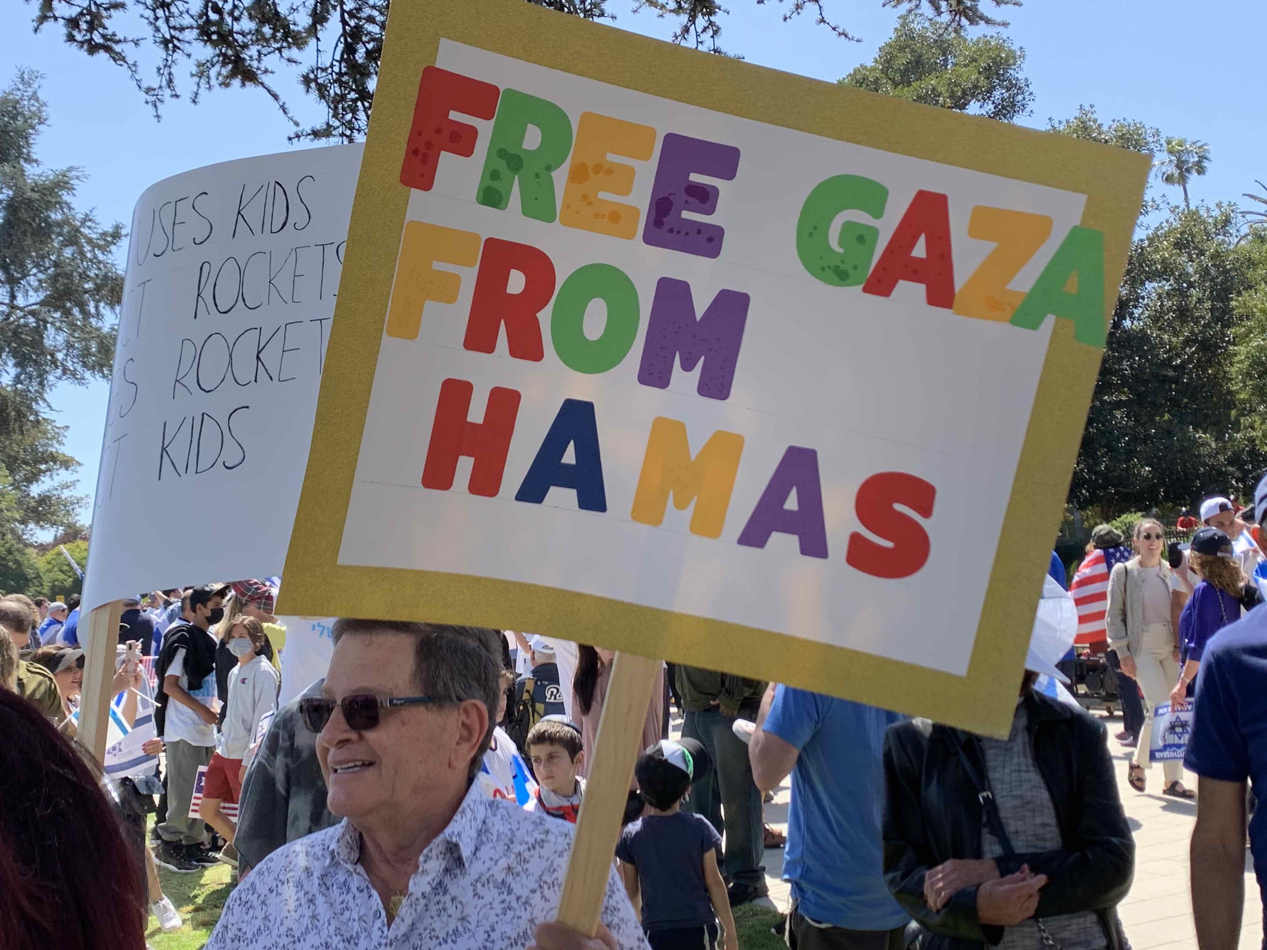 Free Gaza at pro-Israel rally (Joel Pollak)