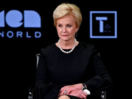 NEW YORK, NEW YORK - APRIL 12: Cindy McCain speaks during the 10th Anniversary Women In The World Summit at David H. Koch Theater at Lincoln Center on April 12, 2019 in New York City. (Photo by Mike Coppola/Getty Images)