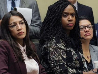WASHINGTON, DC - JULY 26: House Oversight and Government Reform Committee members (L-R) Rep. Alexandria Ocasio-Cortez (D-NY), Rep. Ayanna Pressley (D-MA) and Rep. Rashida Tlaib (D-MI) attend a hearing on drug pricing in the Rayburn House Office building on Capitol Hill July 26, 2019 in Washington, DC. As members of …