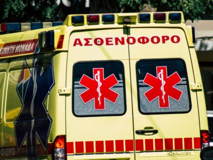 Athens Greece August 30, 2019 View of a Greek ambulance driving through the streets of Athens in the morning