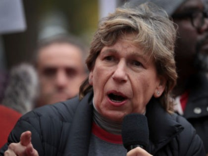 CHICAGO, ILLINOIS - OCTOBER 22: American Federation of Teachers (AFT) president Randi Weingarten visits with striking Chicago teachers at Oscar DePriest Elementary School on October 22, 2019 in Chicago, Illinois. About 25,000 Chicago school teachers went on strike last week after the Chicago Teachers Union (CTU) failed to reach a …