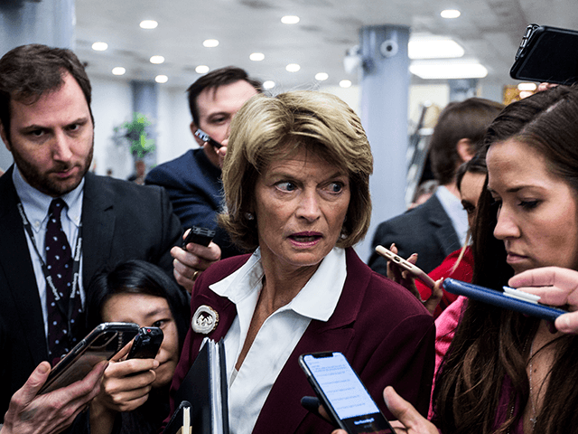 Sen. Lisa Murkowski (R-AK) leaves a closed-door Senate Republican caucus meeting after the Senate adjourned for the day during the Senate impeachment trial at the U.S. Capitol on January 28, 2020 in Washington, DC. U.S. President Donald Trump's legal defense team concluded their arguments today and will begin answering written …