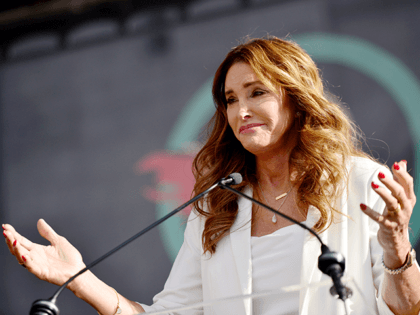 Caitlyn Jenner speaks at the 4th annual Women's March LA: Women Rising at Pershing Square on January 18, 2020 in Los Angeles, California. (Photo by Chelsea Guglielmino/Getty Images)